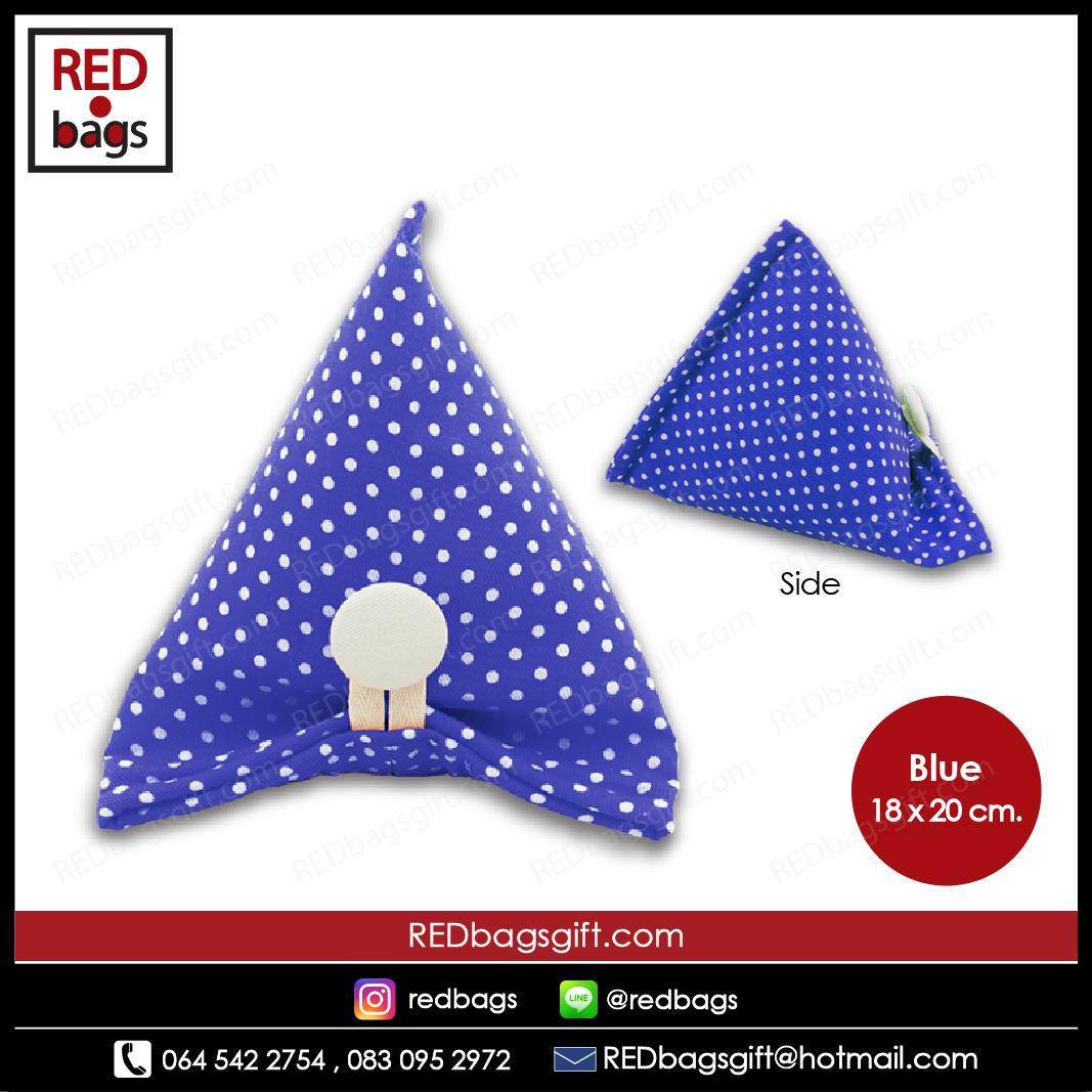 ถุงของขวัญ ทรงบ๊ะจ่าง ลายจุด สีน้ำเงิน / Blue Polka Dots Ba-jang Gift Bag