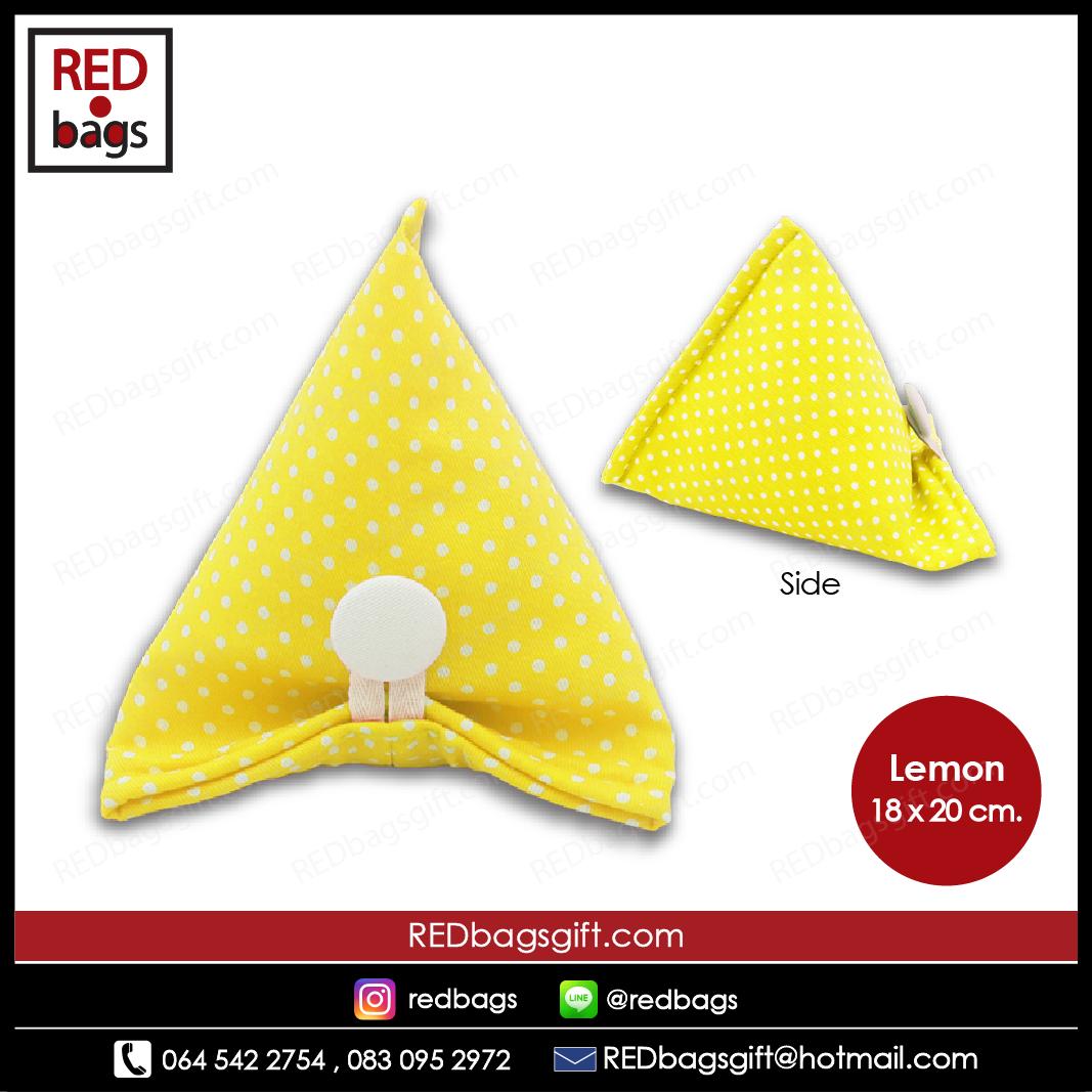 ถุงของขวัญ ทรงบ๊ะจ่าง ลายจุด สีเหลือง / Yellow Polka Dots Ba-jang Gift Bag