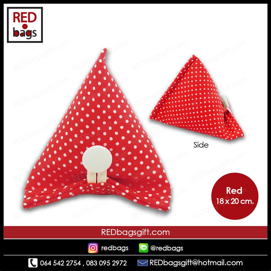 ถุงของขวัญ ทรงบ๊ะจ่าง ลายจุด สีแดง / Red Polka Dots Ba-jang Gift Bag