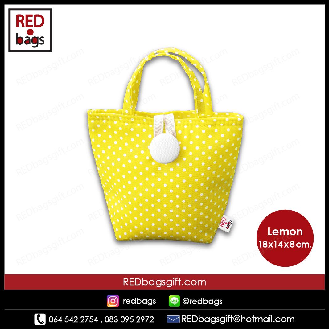 ถุงของขวัญ หูหิ้วสั้น ลายจุด สีเหลือง / Yellow Polka Dots Gift Bag : Type A