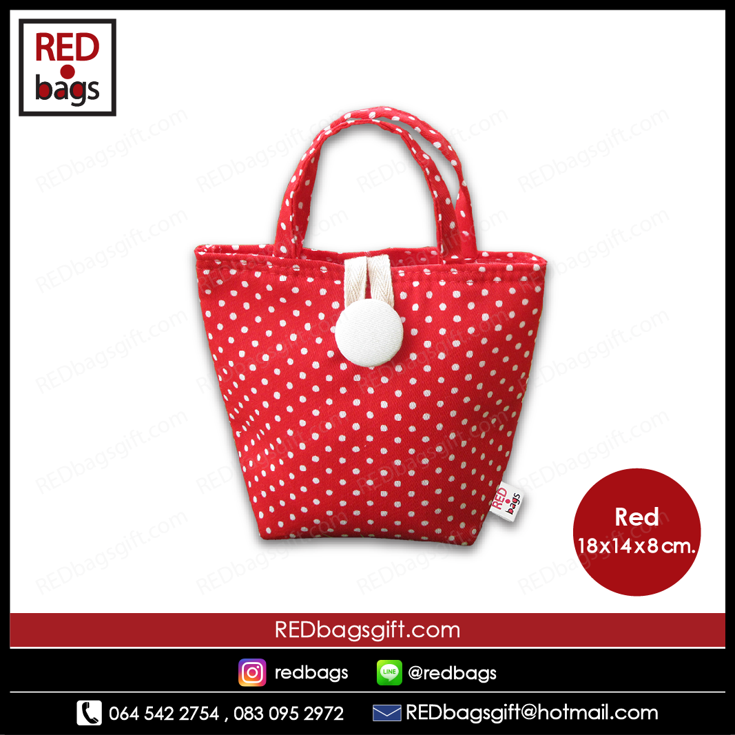 ถุงของขวัญ หูหิ้วสั้น ลายจุด สีแดง / Red Polka Dots Gift Bag : Type A