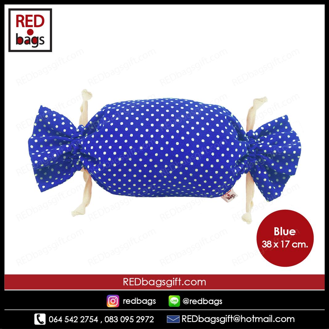 ถุงของขวัญ ทรงท็อฟฟี่ ลายจุด สีน้ำเงิน / Blue Polka Dots Toffee Gift Bag