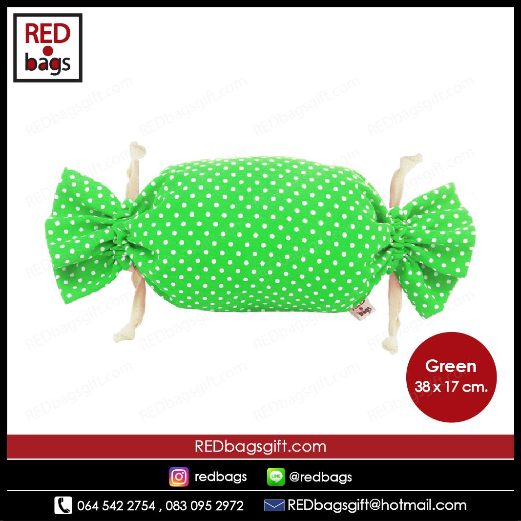 ถุงของขวัญ ทรงท็อฟฟี่ ลายจุด สีเขียว / Green Polka Dots Toffee Gift Bag