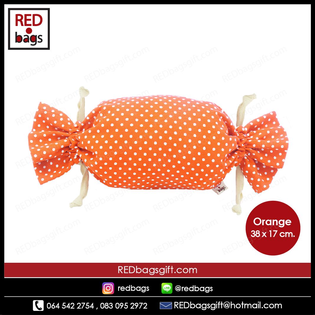 ถุงของขวัญ ทรงท็อฟฟี่ ลายจุด สีส้ม / Orange Polka Dots Toffee Gift Bag
